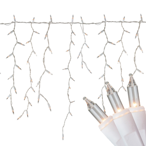 300 Count Clear Mini Icicle Christmas Lights - 18 ft White Wire - IMAGE 1