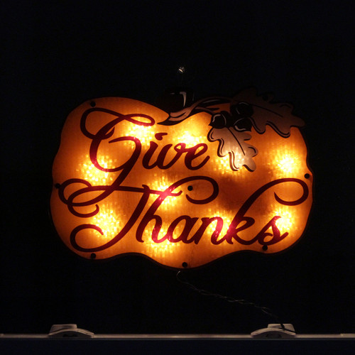"""16"""" Lighted """"Give Thanks"""" Pumpkin Thanksgiving Window Silhouette Decoration - IMAGE 1"""