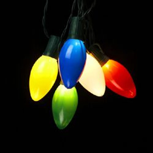 10 Multi-Color Retro Style Christmas Lights - 13.5 ft Green Wire - IMAGE 1