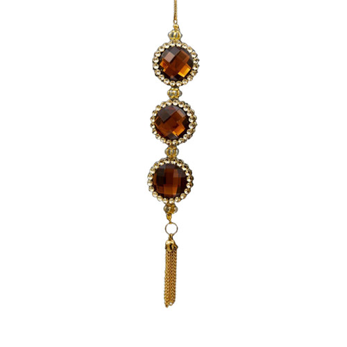 """7"""" Deco and Diamonds Gold and Amber Round Three-Jewel Christmas Drop Ornament - IMAGE 1"""