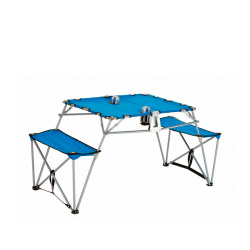 Portable Fold-up Table and Bench with Cupholders Backpack Set-Blue - IMAGE 1