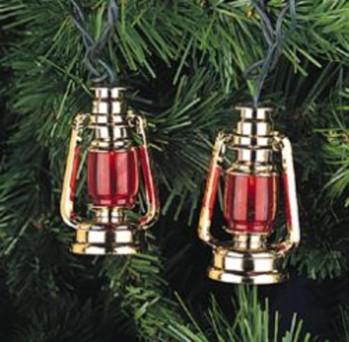 10 Nautical Red and Gold Prospector Lantern Christmas Lights - Green Wire - IMAGE 1