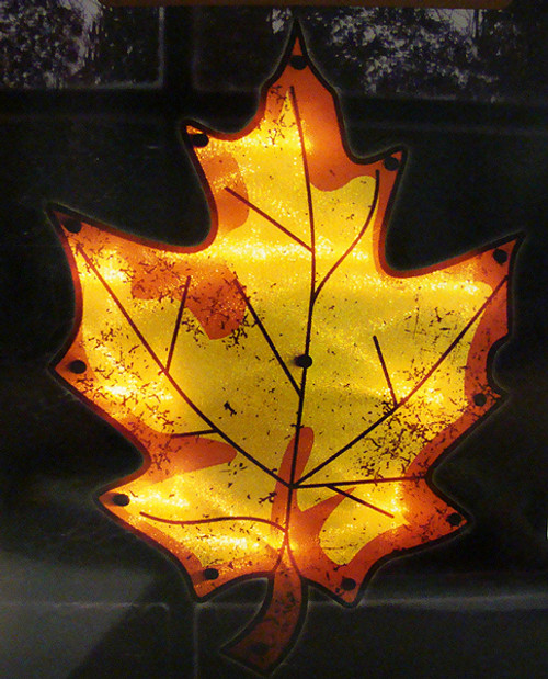 """16"""" Yellow Lighted Thanksgiving Maple Leaf Window Silhouette Decoration - IMAGE 1"""