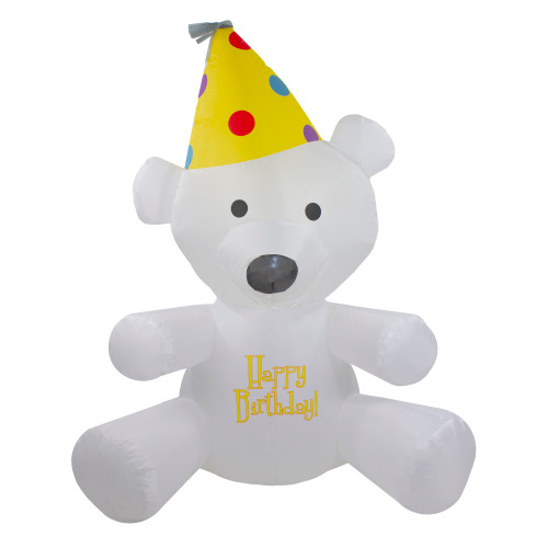 4' Inflatable Lighted Happy Birthday Bear Outdoor Decoration - IMAGE 1