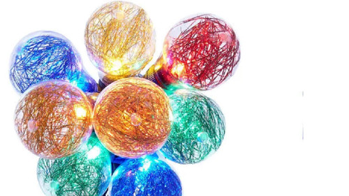 10 Count Multi Color Tinsel Filled Globe Light Set - 6.5 ft Green Wire - IMAGE 1
