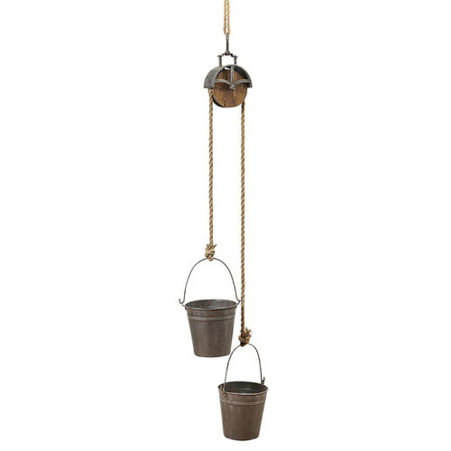 44.5-Inch Metal Pulley with Buckets Planter - IMAGE 1