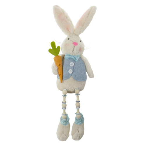 """22"""" Blue and White Boy Bunny Rabbit with Dangling Bead Legs Spring Figure - IMAGE 1"""