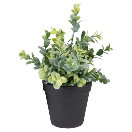 "10"" Green Artificial Melia Azedarach Plant in Black Pot - IMAGE 1"