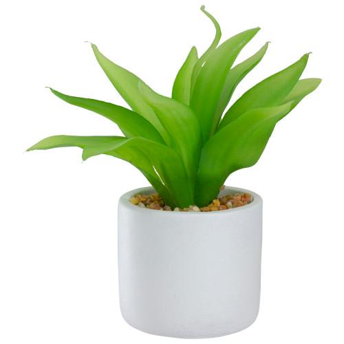"8"" Green Artificial Aloe Plant in a White Pot - IMAGE 1"