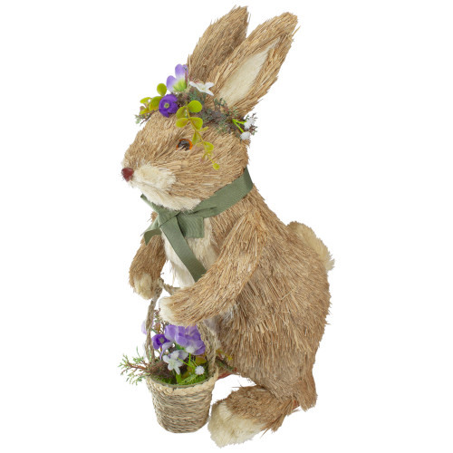 "15"" Brown Sisal Bunny Rabbit with Basket Easter Figure - IMAGE 1"