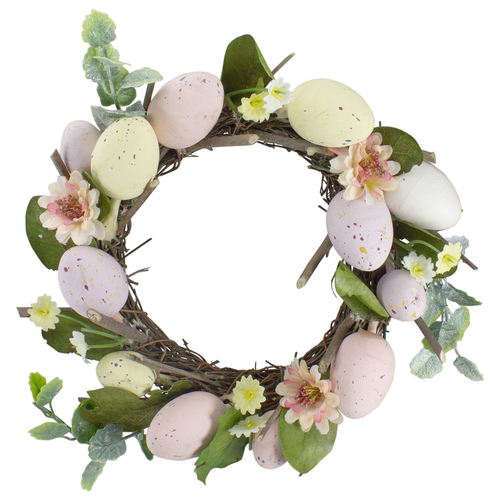 Pastel Easter Egg Mini Spring Easter Wreath, Pink and Yellow 8-Inch - IMAGE 1