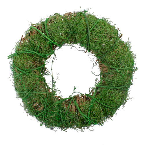 Green Moss and Twig Artificial Spring Wreath, 12-Inch - IMAGE 1