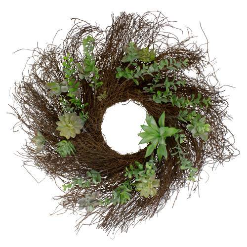 Eucalyptus and Succulents Artificial Twig Wreath - 22-Inch - IMAGE 1