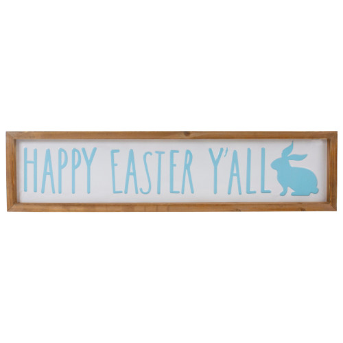 """26"""" Wooden Framed """"Happy Easter Y'all"""" Sign Spring Wall Decor - IMAGE 1"""