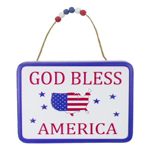 """8.75"""" Metal Patriotic """"GOD BLESS AMERICA"""" Sign with Stars Wall Decor - IMAGE 1"""