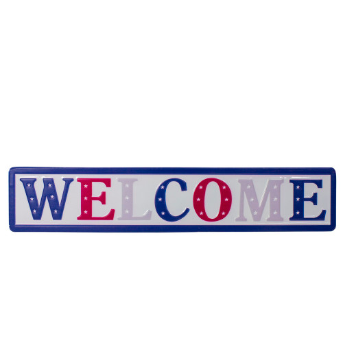 """18"""" Metal Patriotic """"WELCOME"""" Sign with Stars Wall Decor - IMAGE 1"""