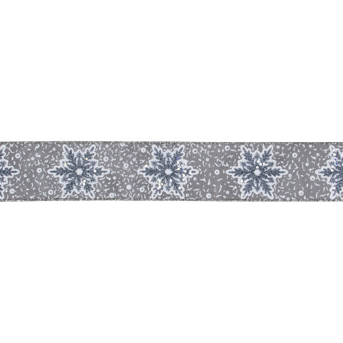 "Gray Snowflake Christmas Wired Craft Ribbon 2.5"" x 10 Yards - IMAGE 1"