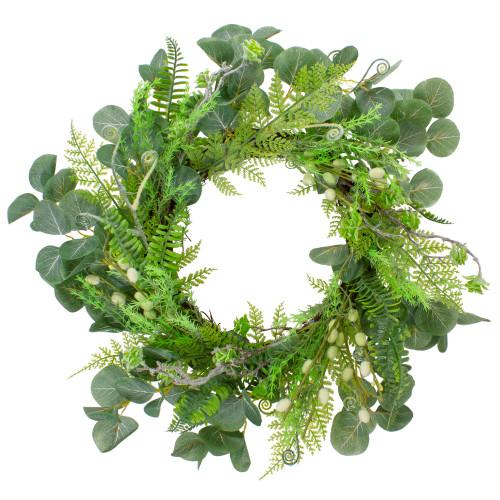 "Eucalyptus and Foliage Springtime Floral Wreath, Green 21"" - IMAGE 1"