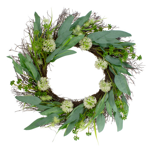 """Olive Leaf and Floral Twig Spring Wreath, Green and White 23"""" - IMAGE 1"""