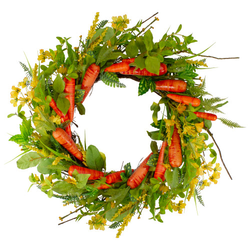 """Carrot and Berry Foliage Easter Floral Spring Wreath, Orange and Yellow 22"""" - IMAGE 1"""