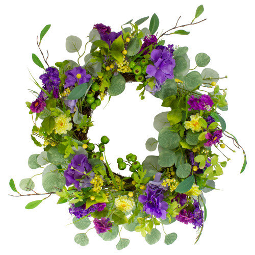 """Eucalyptus and Hydrangea Floral Berry Spring Wreath, Purple and Yellow 23"""" - IMAGE 1"""