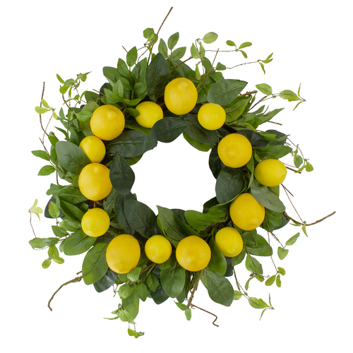 """Lemons and Assorted Foliage Spring Wreath, Yellow and Green 20"""" - IMAGE 1"""