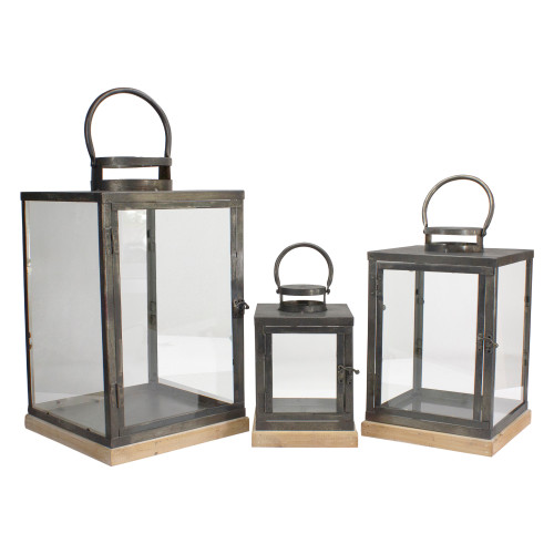 """Set of 3 Bronze Glass Candle Lanterns With a Latch Hook Lock - 21"""" - IMAGE 1"""