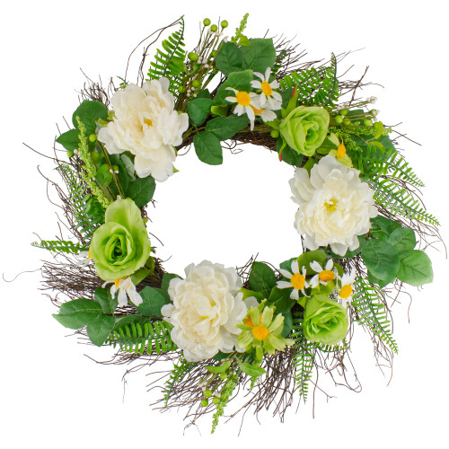 Mixed Floral Artificial Spring Wreath, 22-Inch - IMAGE 1
