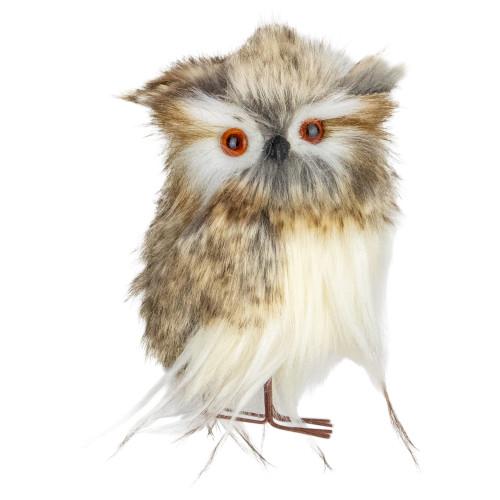 """4.75"""" Brown and White Plush Fur Owl Christmas Ornament - IMAGE 1"""