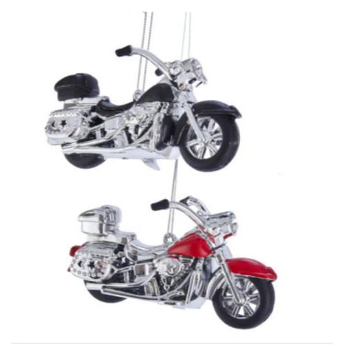 """Set of 2 Silver and Red Motorcycle Christmas Ornament 4.8"""" - IMAGE 1"""