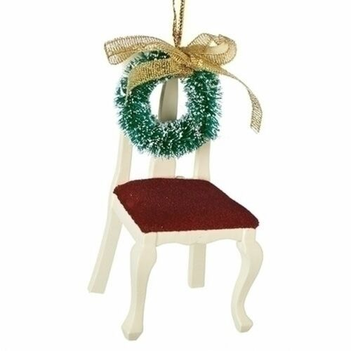 """3.5"""" White and Green Chair with Wreath Memorial Ornament - IMAGE 1"""