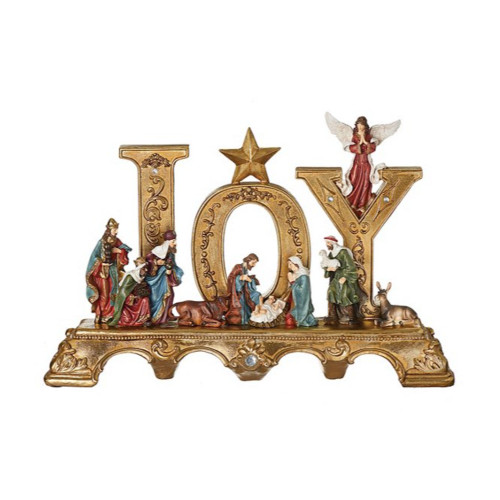 """14.5"""" Gold and Vibrantly Colored Joy Nativity Tabletop Decor - IMAGE 1"""