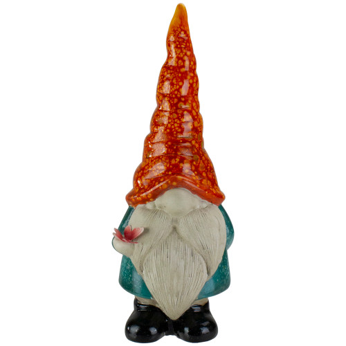 Orange Standing Gnome with Butterfly Patio and Garden Statue - IMAGE 1