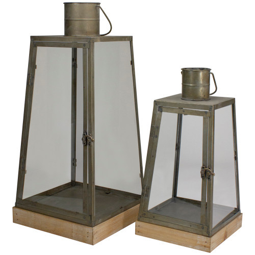 """Set of 2 Rustic Silver Candle Lanterns With an Attached Handle - 24"""" - IMAGE 1"""
