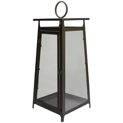 """25"""" Brown Rustic Candle Lantern With a Latch Hook Lock Tabletop Decor - IMAGE 1"""
