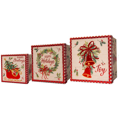 Set of 3 Assorted Square Christmas Holiday Gift Boxes - IMAGE 1