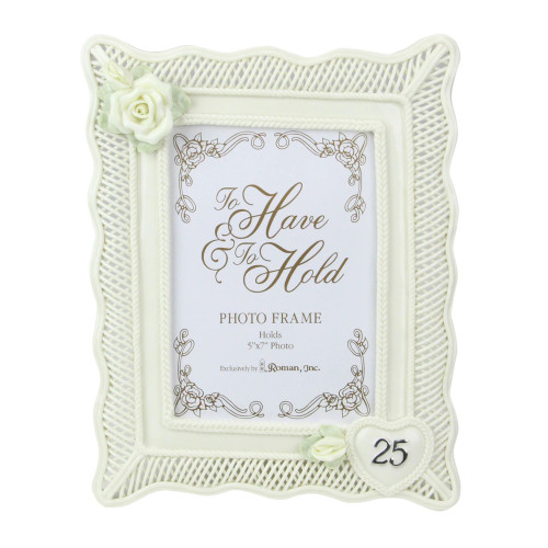 """11-Inch Off White and Green """"25th Wedding Anniversary"""" Photo Picture Frame - IMAGE 1"""