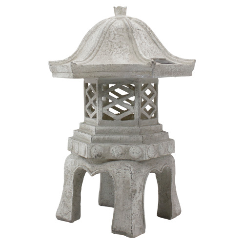 """18.5"""" LED Lighted Stone Gray Outdoor Solar Powered Pagoda Sculpture - IMAGE 1"""