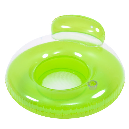 """46.5"""" Green Inflatable Inner Tube Pool Float with Backrest - IMAGE 1"""