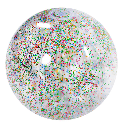 """20"""" Multi Color Glitter Inflatable Beach Ball - IMAGE 1"""