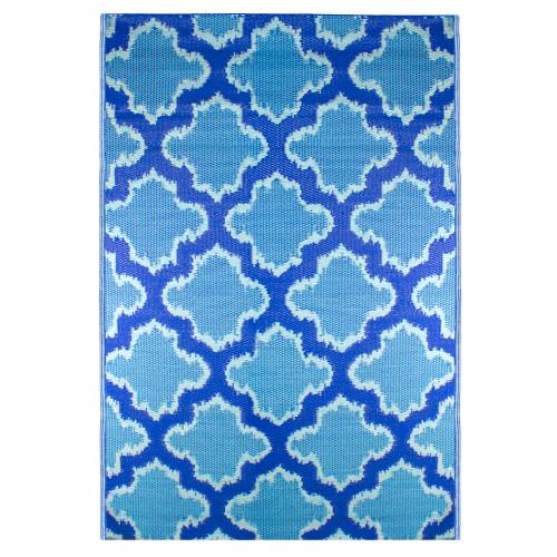 4' x 6' Blue Quatrefoil Rectangular Outdoor Area Rug - IMAGE 1
