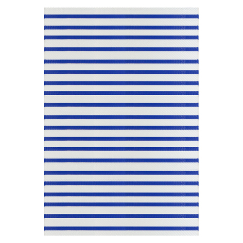 4' x 6' Blue and White Striped Rectangular Outdoor Area Rug - IMAGE 1