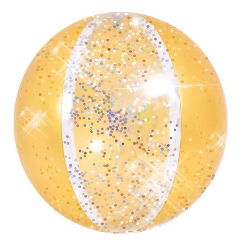 "16"" Yellow Glitter Inflatable Beach Ball - IMAGE 1"