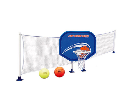 """35.5"""" White and Blue Combo Basketball and Volleyball Above-Ground Swimming Pool Game Set - IMAGE 1"""