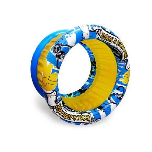 """60"""" Yellow and Blue Inflatable Aqua Fun Rock and Roller Swimming Pool Toy - IMAGE 1"""