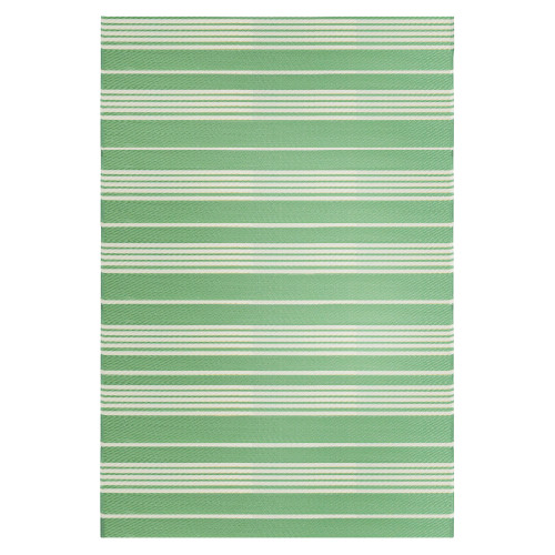 4' x 6' Green and White Striped Rectangular Outdoor Area Rug - IMAGE 1