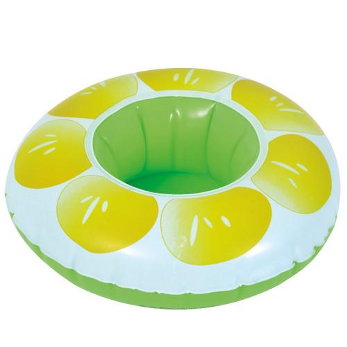 "9"" Inflatable Lemon Slice Swimming Pool Beverage Drink Holder - IMAGE 1"