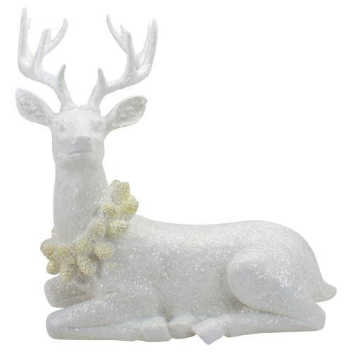 """14"""" Frosted White Laying Reindeer Christmas Figure - IMAGE 1"""