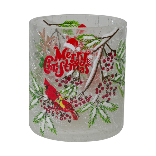 2.75-Inch Cardinal and Pine Hand Painted Flameless Christmas Candle Holder - IMAGE 1