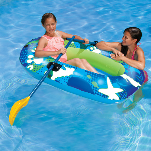 """59"""" Blue and Lime Green Inflatable Aqua Fun Swimming Pool Deep Sea Water Sport Boat Float - IMAGE 1"""